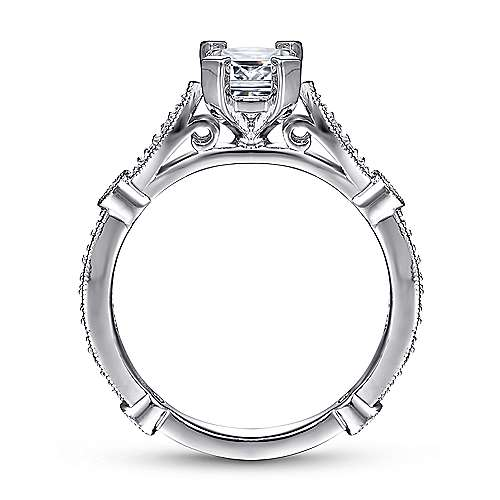 Mabel 14k White Gold Emerald Cut Straight Engagement Ring angle 2