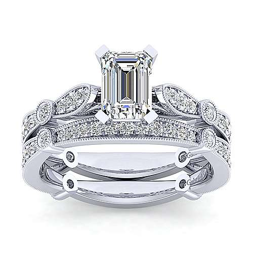 Mabel 14k White Gold Emerald Cut Straight Engagement Ring angle 4