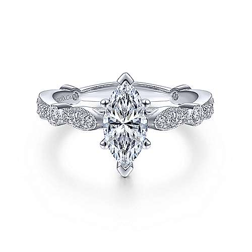 Gabriel - Mabel 14k White Gold Marquise  Straight Engagement Ring