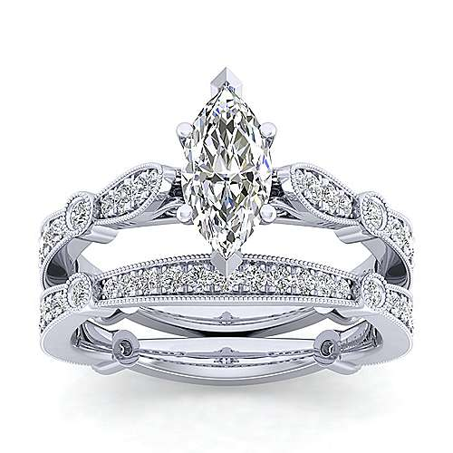 Mabel 14k White Gold Marquise  Straight Engagement Ring angle 4