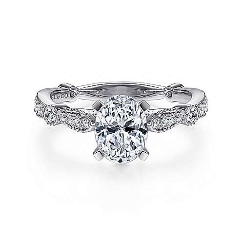 Gabriel - Mabel 14k White Gold Oval Straight Engagement Ring