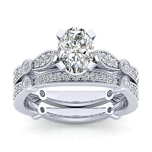 Mabel 14k White Gold Oval Straight Engagement Ring angle 4