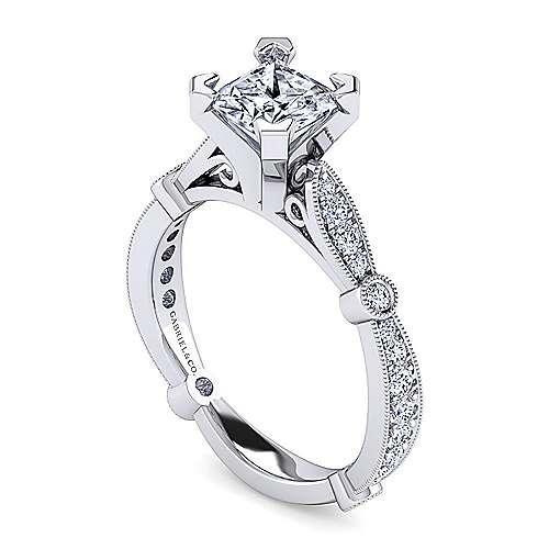Mabel 14k White Gold Princess Cut Straight Engagement Ring