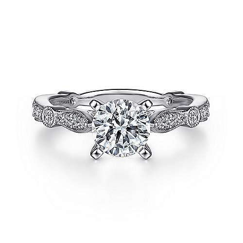 Gabriel - Mabel 14k White Gold Round Straight Engagement Ring