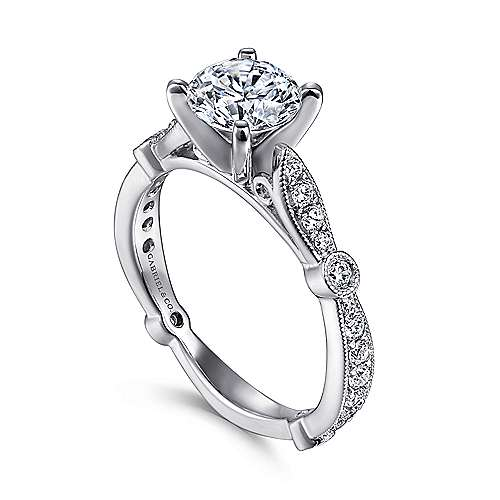Mabel 14k White Gold Round Straight Engagement Ring