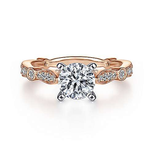 Gabriel - Mabel 14k White/pink Gold Round Straight Engagement Ring