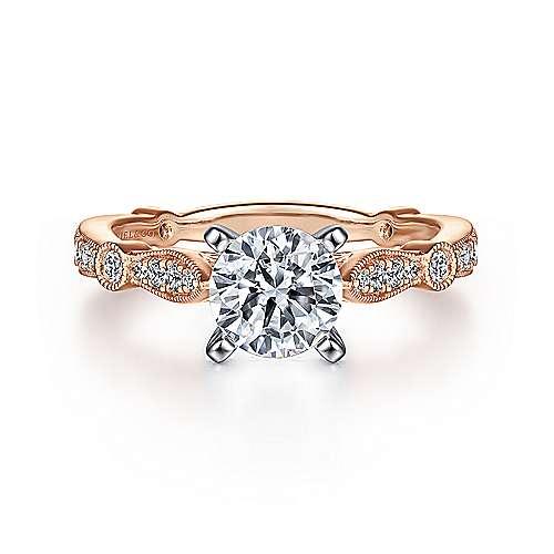 Gabriel - Mabel 14k White/rose Gold Round Straight Engagement Ring