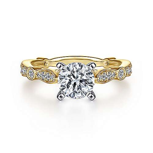 Mabel 14k Yellow And White Gold Round Straight Engagement Ring angle 1