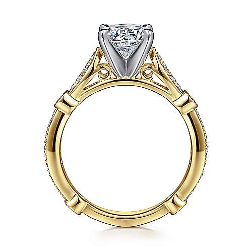 Mabel 14k Yellow And White Gold Round Straight Engagement Ring angle 2
