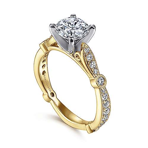 Mabel 14k Yellow And White Gold Round Straight Engagement Ring angle 3