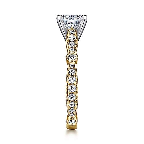 Mabel 14k Yellow And White Gold Round Straight Engagement Ring angle 5