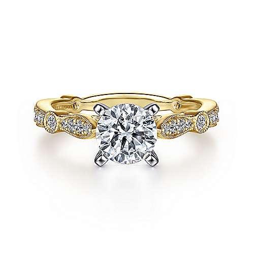 Gabriel - Mabel 14k Yellow/white Gold Round Straight Engagement Ring