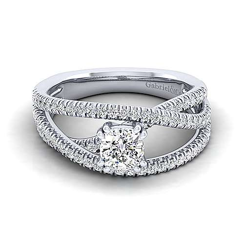 Gabriel - Mackenzie 14k White Gold Cushion Cut Free Form Engagement Ring