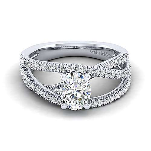 Gabriel - Mackenzie 14k White Gold Oval Free Form Engagement Ring