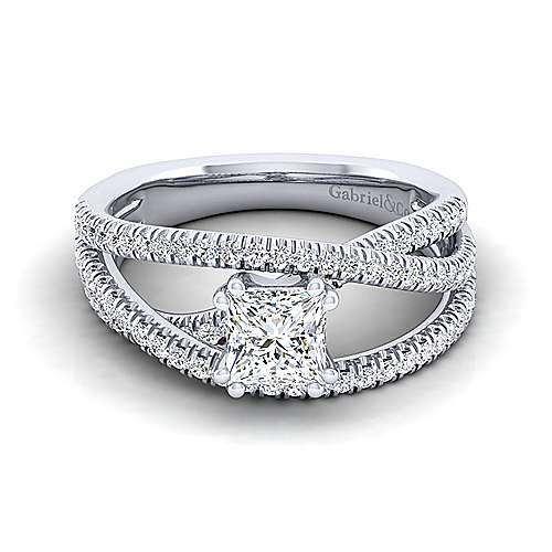 Gabriel - Mackenzie 14k White Gold Princess Cut Free Form Engagement Ring