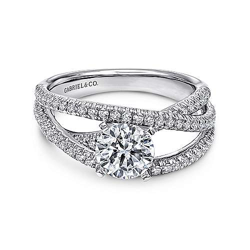 Gabriel - Mackenzie 14k White Gold Round Free Form Engagement Ring