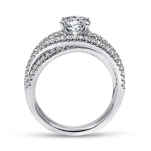 Mackenzie 14k White Gold Round Free Form Engagement Ring