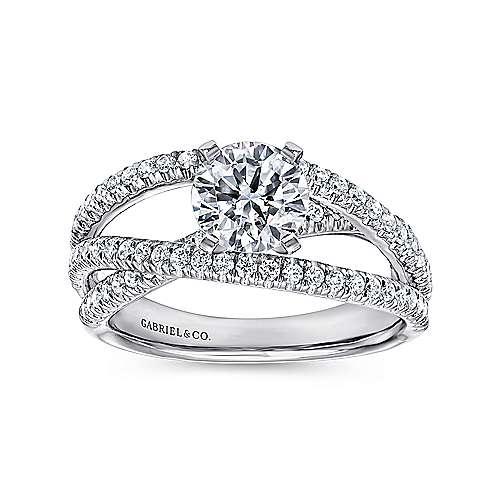 Mackenzie 14k White Gold Round Free Form Engagement Ring angle 5