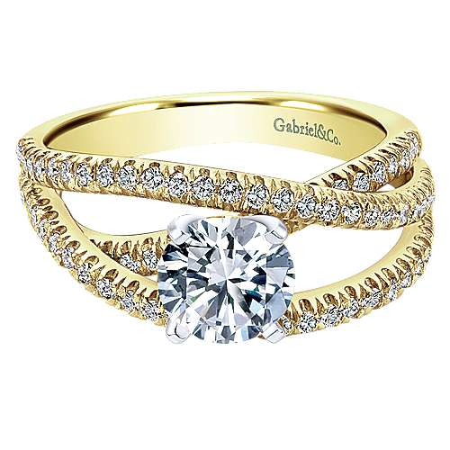 Gabriel - Mackenzie 14k Yellow Gold Round Free Form Engagement Ring