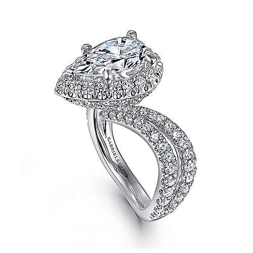 Madeleine 14k White Gold Pear Shape Halo Engagement Ring angle 3