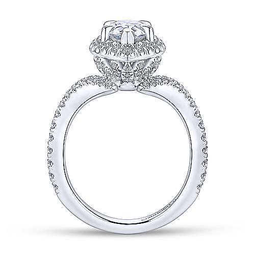 Madeleine 18k White Gold Pear Shape Halo Engagement Ring angle 2