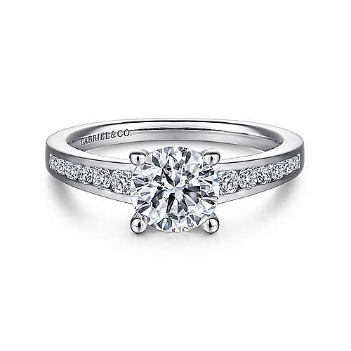 Gabriel - Madigan 14k White Gold Round Straight Engagement Ring