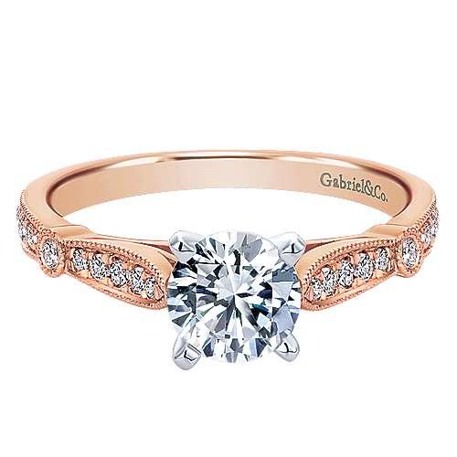 Gabriel - Mae 14k Pink Gold Round Straight Engagement Ring