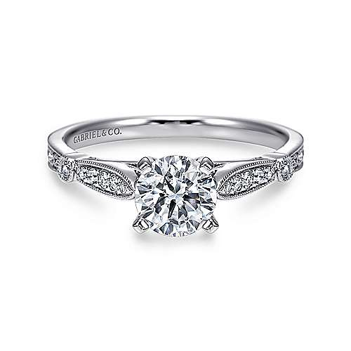 Mae 14k White Gold Round Straight Engagement Ring angle 1