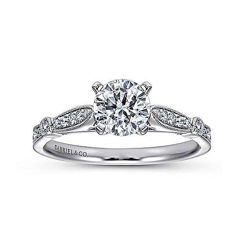 Mae 14k White Gold Round Straight Engagement Ring angle 5
