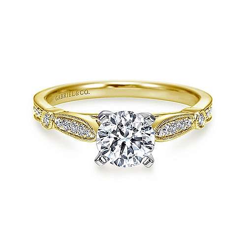 Gabriel - Mae 14k Yellow And White Gold Round Straight Engagement Ring