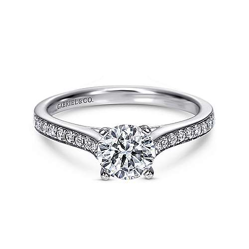 Maelin 14k White Gold Round Straight Engagement Ring angle 1