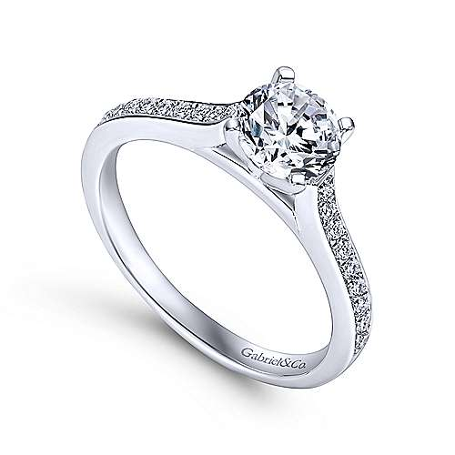 Maelin 14k White Gold Round Straight Engagement Ring angle 3