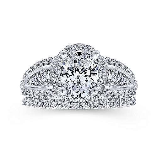 Magnolia 14k White Gold Oval Halo Engagement Ring angle 4