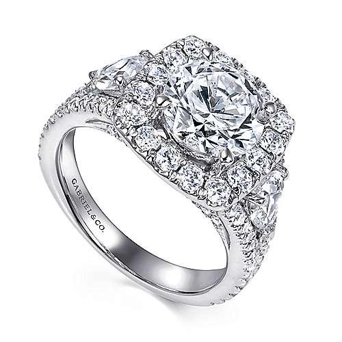 Maia 18k White Gold Round Halo Engagement Ring