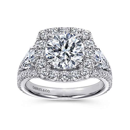 Maia 18k White Gold Round Halo Engagement Ring angle 5