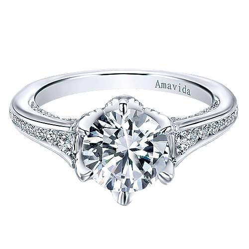 Gabriel - Maisy 18k White Gold Round Straight Engagement Ring