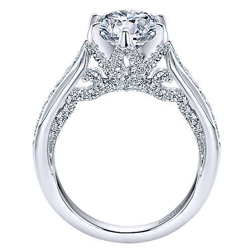 Maisy 18k White Gold Round Straight Engagement Ring angle 2
