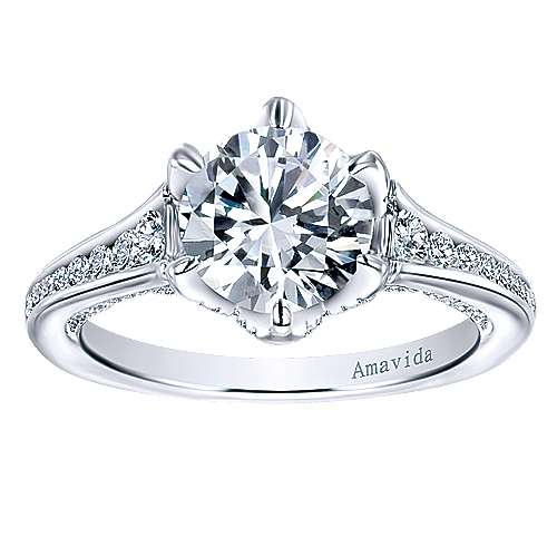 Maisy 18k White Gold Round Straight Engagement Ring angle 5