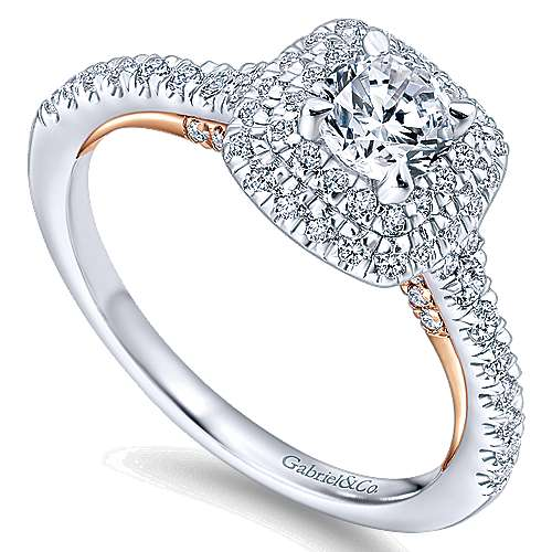 Malibu 14k White And Rose Gold Round Double Halo Engagement Ring angle 3