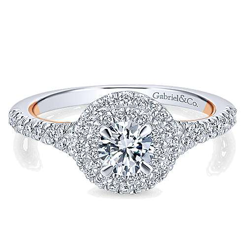Gabriel - Malibu 14k White And Rose Gold Round Double Halo Engagement Ring