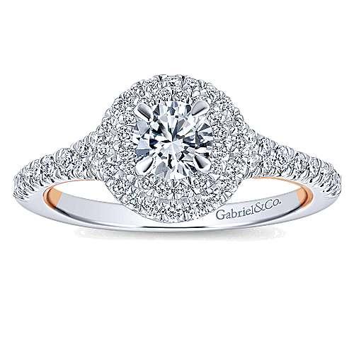Malibu 14k White And Rose Gold Round Double Halo Engagement Ring angle 5