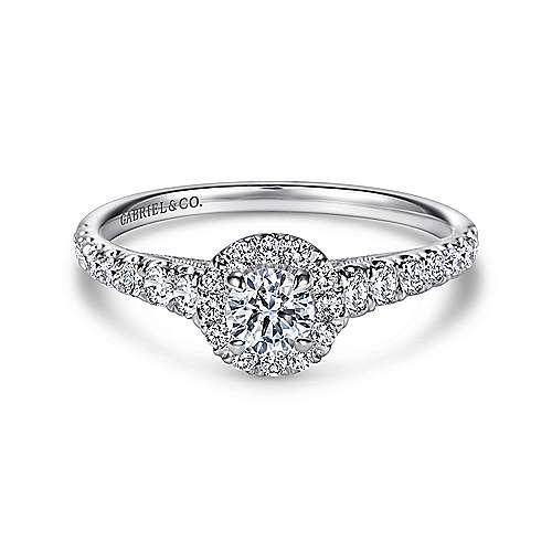 Malta 14k White Gold Round Halo Engagement Ring