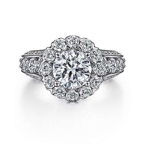 Gabriel - Maple 14k White Gold Round Halo Engagement Ring