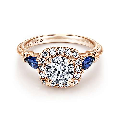 Gabriel - Mara 18k Rose Gold Round Halo Engagement Ring