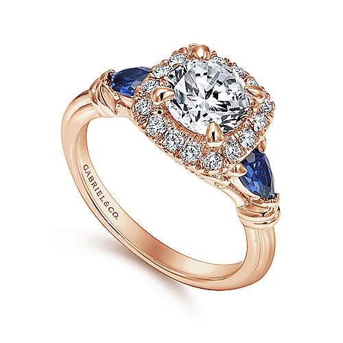 Mara 18k Rose Gold Round Halo Engagement Ring angle 3