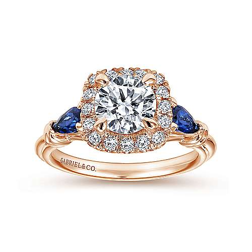 Mara 18k Rose Gold Round Halo Engagement Ring angle 5
