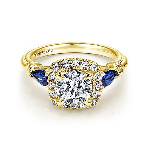 Gabriel - Mara 18k Yellow Gold Round Halo Engagement Ring