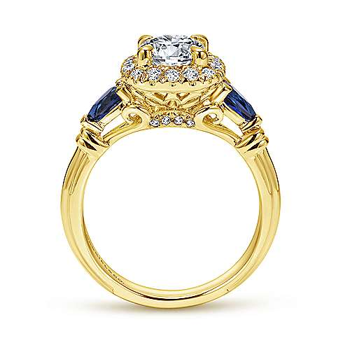 Mara 18k Yellow Gold Round Halo Engagement Ring angle 2
