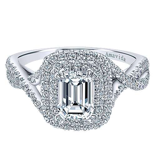 Marcella 18k White Gold Emerald Cut Double Halo Engagement Ring angle 1