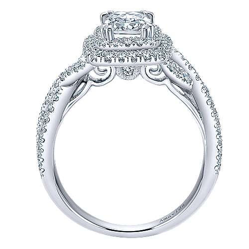 Marcella 18k White Gold Emerald Cut Double Halo Engagement Ring angle 2